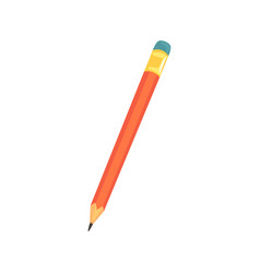 red sharpened pencil with eraser office tool vector image