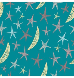 seamless pattern with hand drawn stars and moons vector image