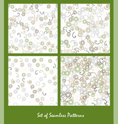 Set of seamless patterns spirals and circles vector