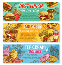sketch banner fast food restaurant menu vector image