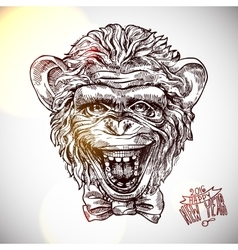 sketch portret of monkey vector image vector image