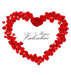valentines day background with rose petals heart vector image