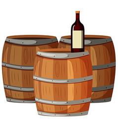 Wine bottle on wooden barrels vector