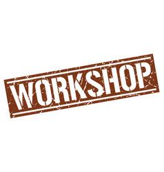 Workshop square grunge stamp vector