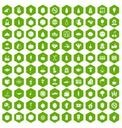 100 vegetarian cafe icons hexagon green vector