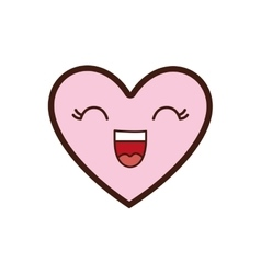 kawaii cartoon heart icon graphic vector image