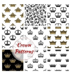 Crowns seamless royal patterns vector