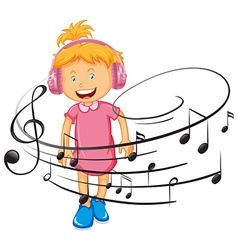Happy girl listen to music by headphone vector