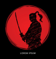 Samurai warrior with sword vector