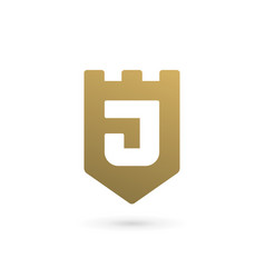 Letter j shield logo icon design template elements vector