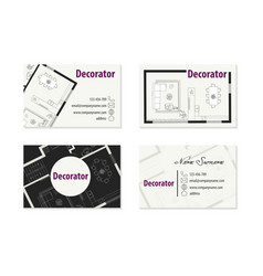 Set of business cards for decorator vector