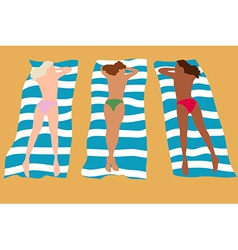 Three girls sunbathing vector