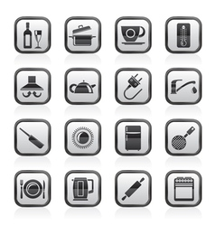 kitchen objects and accessories icons vector image