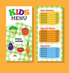 2 pages kids menu design with vegetable vector
