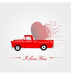 Pickup truck with lovely heart vector