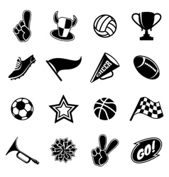 Sports icons and fans equipment vector image
