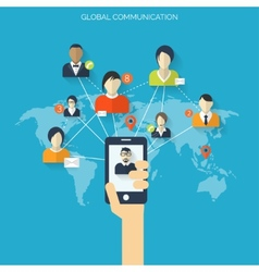 Flat social media and network concept global vector