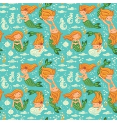 Funny color seamless pattern with mermaids vector
