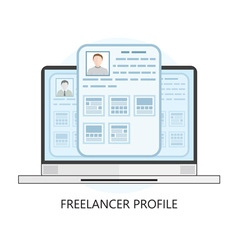 Freelance icon with laptop and user profiles vector