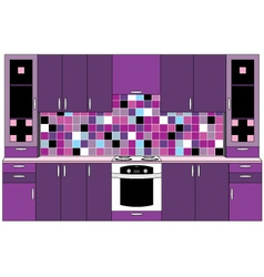 Kitchen in violet tones vector