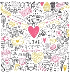 Valentines day sketch pattern vector
