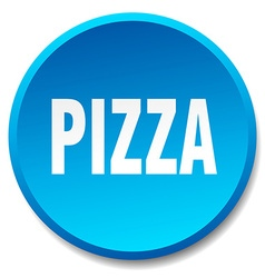 Pizza blue round flat isolated push button vector