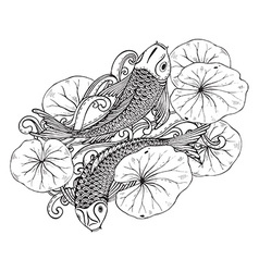 Hand drawn of two koi fishes with lotus leav vector
