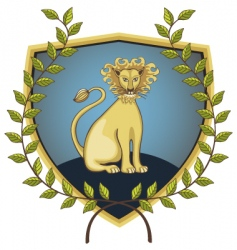 Lion in laurel wreath vector
