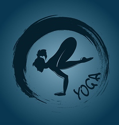 Yoga label with zen symbol and crane pose vector