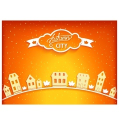 Autumn city postcard vector