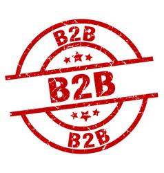 B2b round red grunge stamp vector