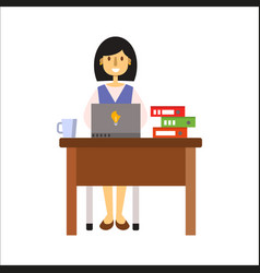 Business people woman character sitting at office vector