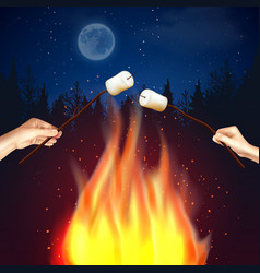 camp fire marshmallow composition vector image
