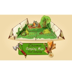 Camping map sketch vector