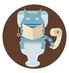 Cat in the toilet vector image vector image