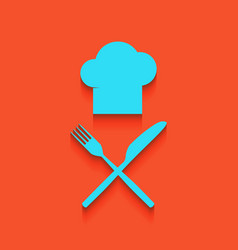 Chef with knife and fork sign whitish vector
