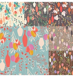 Collection of seven seamless patterns with flowers vector image