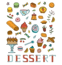 Colorful collection of sweet desserts vector image vector image
