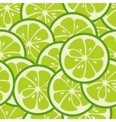 Cute seamless pattern with green lime slices vector image
