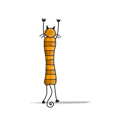cute striped cat sketch for your design vector image vector image