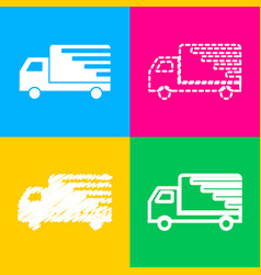 delivery sign four styles of icon on vector image vector image
