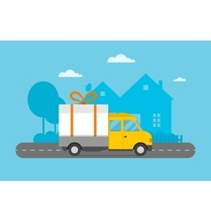 Delivery transport gift box truck vector image