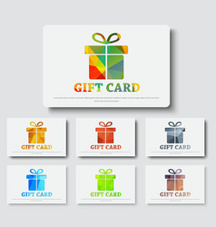 Design gift cards with abstract polygonal boxes vector image