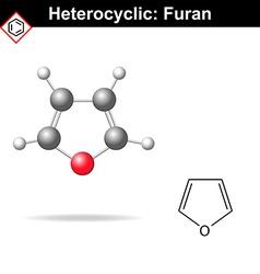 Furan - five-membered organic heterocycle vector image vector image