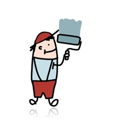 House painter with roller paints the wall cartoon vector image