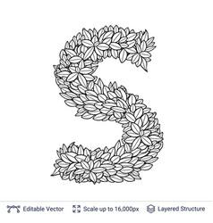 Letter s symbol of white leaves vector