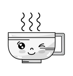 line kawaii cute funny coffee cup vector image vector image