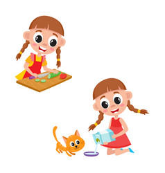 Little girl cooking salad and giving milk to cat vector