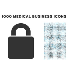 Lock Icon with 1000 Medical Business Symbols vector image