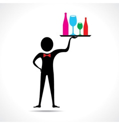 man holding colorful wine glasses and bottles vector image